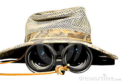 Safari Hat and Binoculars