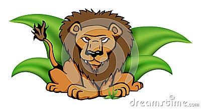 Safari Lion in Grass Vector