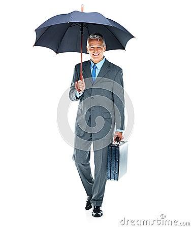 Safe business - Senior businessman going to work
