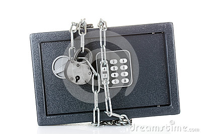 Safe with chain and lock