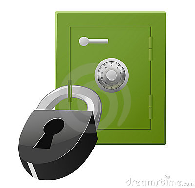Safe with code lock and padlock