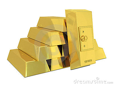 Safe deposit in golden bars