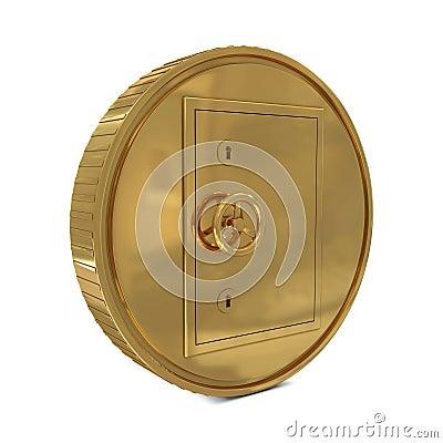 Safe deposit in golden coin