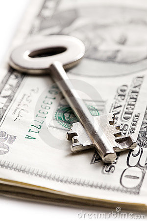 Safe key with money