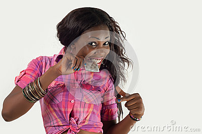 African American girl biting condom-Safe Sex