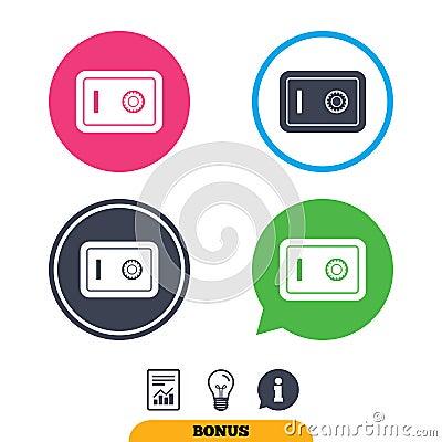 Safe sign icon. Deposit lock symbol. Vector Illustration