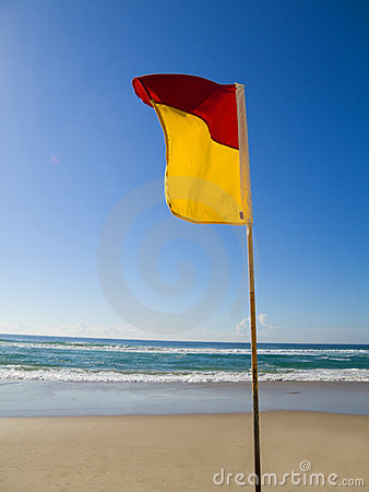 Safe swimming area flag Gold Coast Queensland Aust