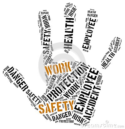 Free Safety At Work Concept. Word Cloud Illustration. Stock Photography - 45418712