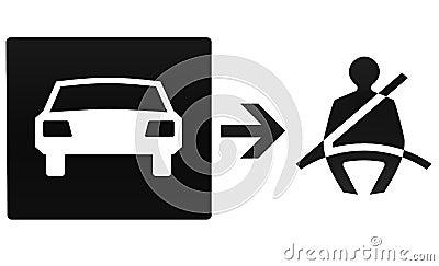 Safety belt, car, illustration