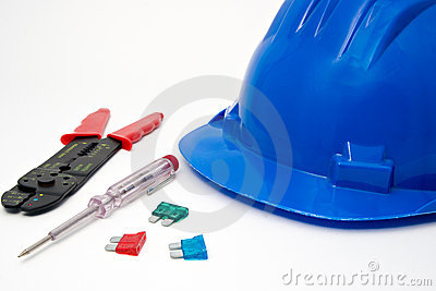 Safety blue helmet and tools