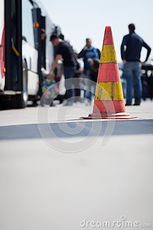 Safety cone at the aerodrome of an airport