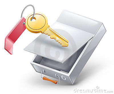 Safety deposit box with key