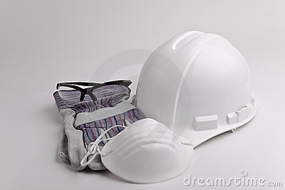 Safety equipment hard hat glasses glove and mask