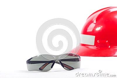 Safety eyeglasses and safety helmet.