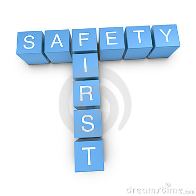 Safety first 3D crossword on white background