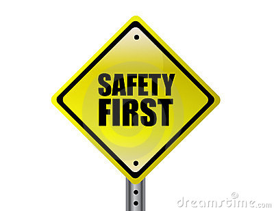 Safety First Yellow Sign Stock Photo - Image: 18086260