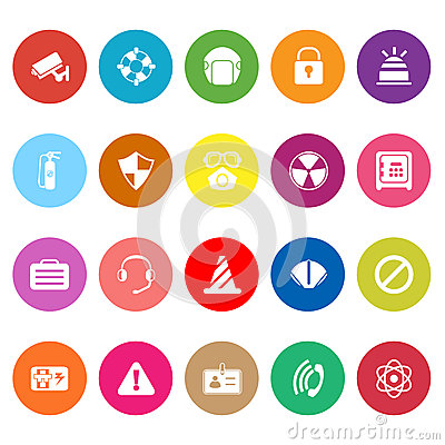 Safety flat icons on white background