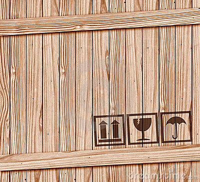 Free Safety Fragile Icon On Wood Box With Space Royalty Free Stock Images - 21333839