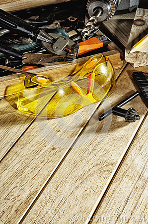 Free Safety Glasses And Tools On The Workbench Stock Photography - 94174962