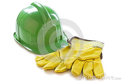 Safety gloves and helmet