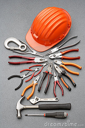 Free Safety Helmet And Tools Royalty Free Stock Images - 5362149
