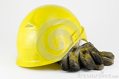 Safety helmet and work gloves