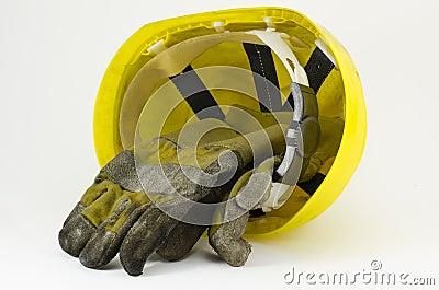 Safety helmet and work gloves