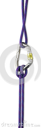 Safety rope and Karabiner  with clipping path