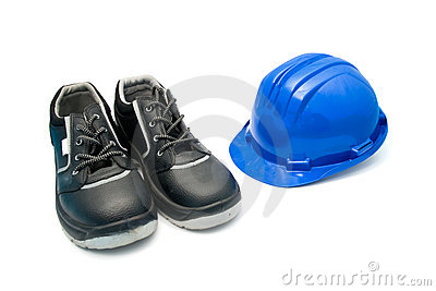 Safety Shoes and blue helmet