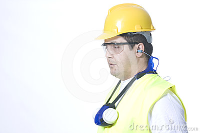 Safety uniform on white