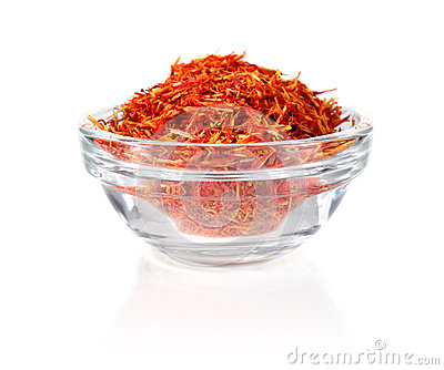 Saffron in glass tableware