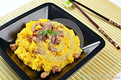 Saffron Risotto with Curry Pork
