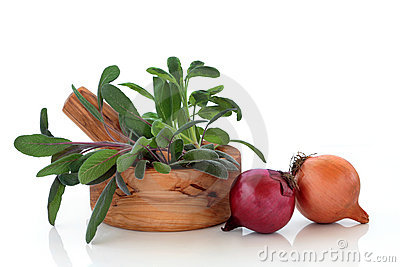 Sage Herb Leaves and Onions