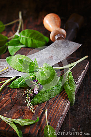 Sage on a rustic wooden table
