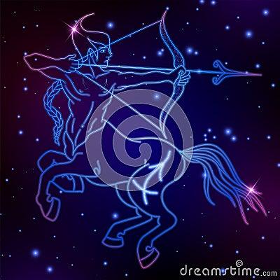 Sagittarius Zodiac Sign Horoscope Symbol Vector Illustration