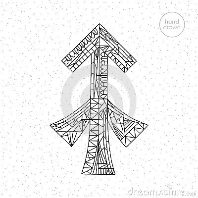 Sagittarius zodiac sign. Vector hand drawn horoscope illustration. Astrological coloring page. Vector Illustration