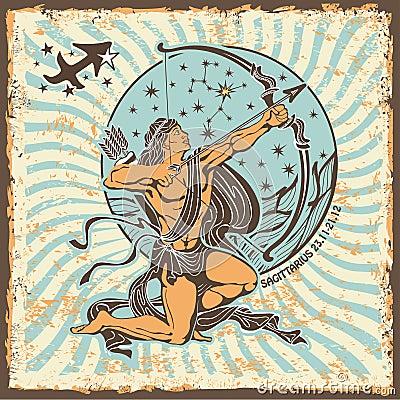 Free Sagittarius Zodiac Sign.Vintage Horoscope Card Royalty Free Stock Photo - 40766545