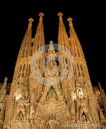 Free Sagrada Familia At Night, Barcelona Spain Stock Photography - 6503952