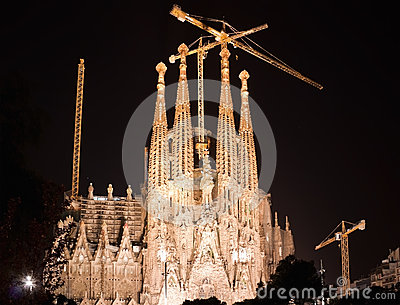 Sagrada Familia in Barcelona night Editorial Stock Photo