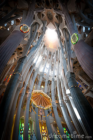 Sagrada Familia of Barcelona in Spain, Europe. Editorial Image