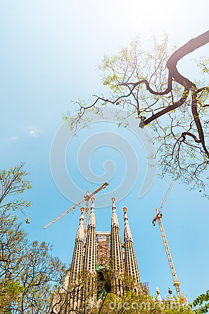 Sagrada Familia in Barcelona, Spain, Europe. Editorial Photo