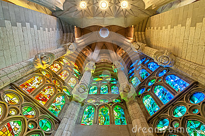 Sagrada Familia of Barcelona in Spain, Europe. Editorial Stock Photo