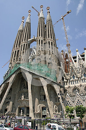Sagrada Familia Cathedral in Barcelona (Spain) Editorial Photo