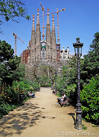 Sagrada Familia park view.