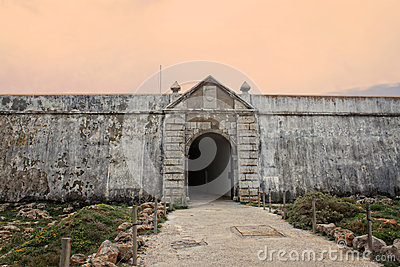 Sagres fortress entrance in rugged terrain