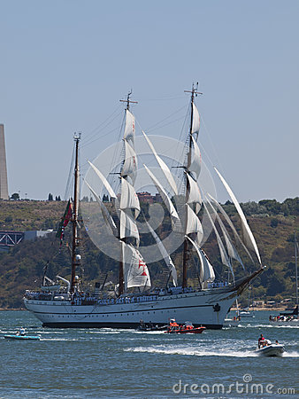 Sagres tall ship in Tagus river Editorial Photo