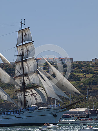 Sagres tall ship in Tagus river Editorial Stock Photo