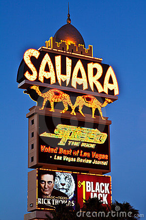 Sahara Hotel-Casino Sign The Las Vegas Strip Editorial Stock Image