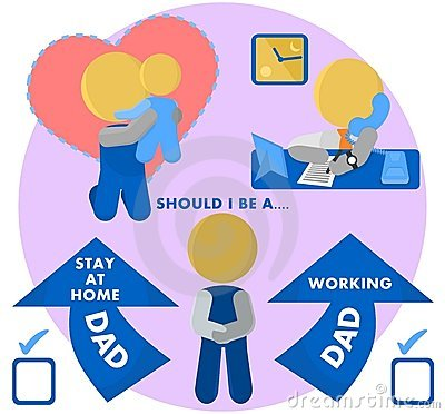 SAHD Stay At Home Dad or Working Dad Illustration
