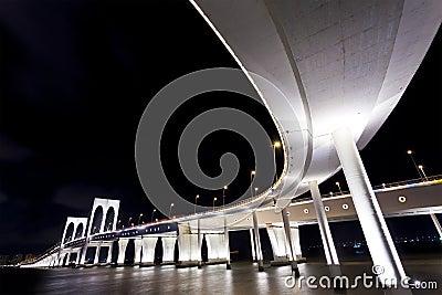 Sai Van Bridge in Macau at night